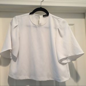 Zara women white cropped top with bell sleeves